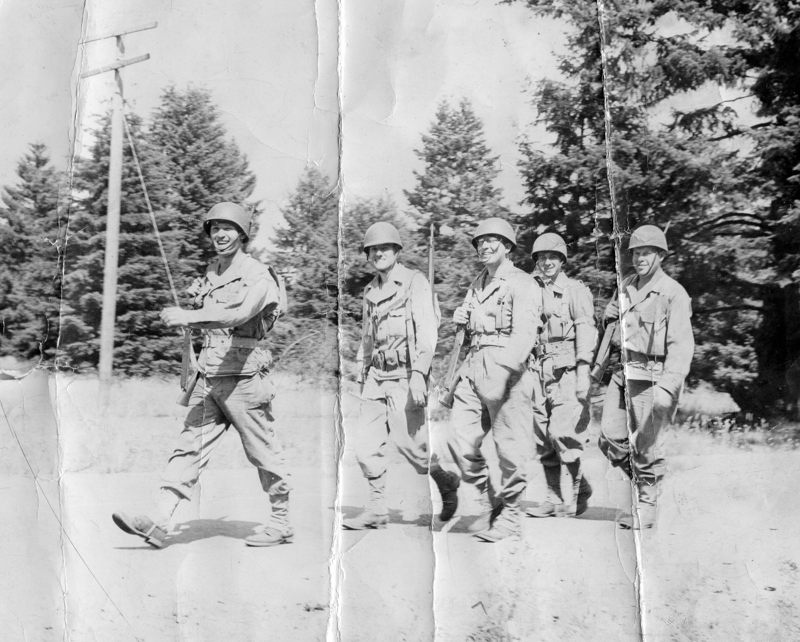 Summer 1944 at Fort Lewis - Johnny leads the way!